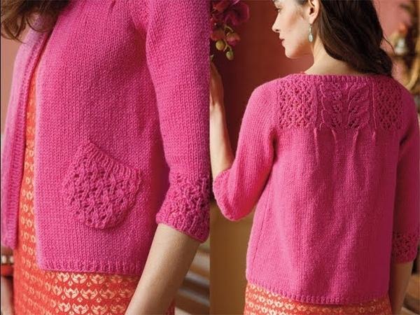 8 Lace Yoke Cardigan Vogue Knitting Early Fall 2013