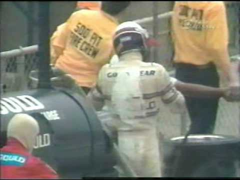Rick Mears has a pit fire, 1981 Indy 500