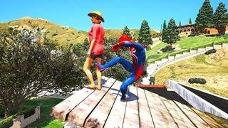 GTA 5 Gameplay Ragdolls SPIDERMAN VS SUPERHEROES Euphoria Physics & Funny Fails momemts compilations