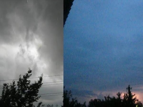 Грозовое облако с восходящими потоками и вечерние зарницы в Гомеле 22 июля 2018 Meteothica