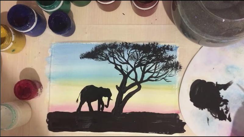 Саванна Как нарисовать природу Африки Рисование для детей и взрослых Рисуем вместе
