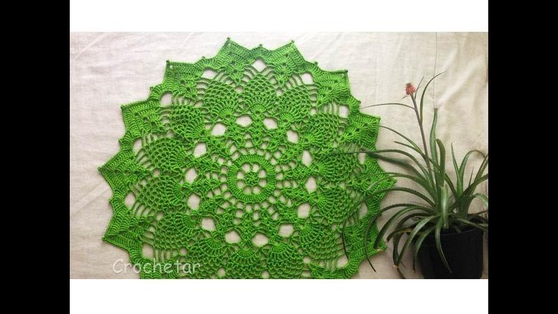 Toalha Abacaxis Verdes crochê - Professora Maria Rita