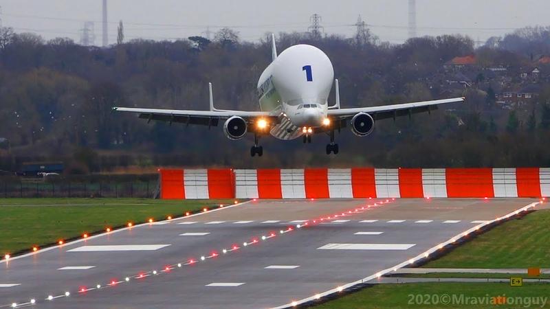 Airbus BELUGA Fantastic CROSSWIND Landing A300 600ST Beluga Plane Spotting at Hawarden Airport