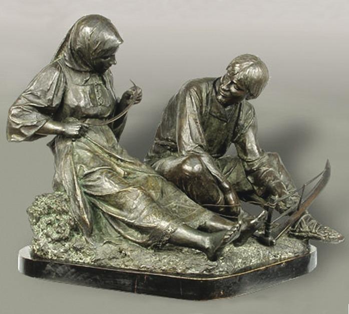 В. А. Беклемишев. «Деревенская любовь». Бронза. 1896. Третьяковская галерея (Москва).