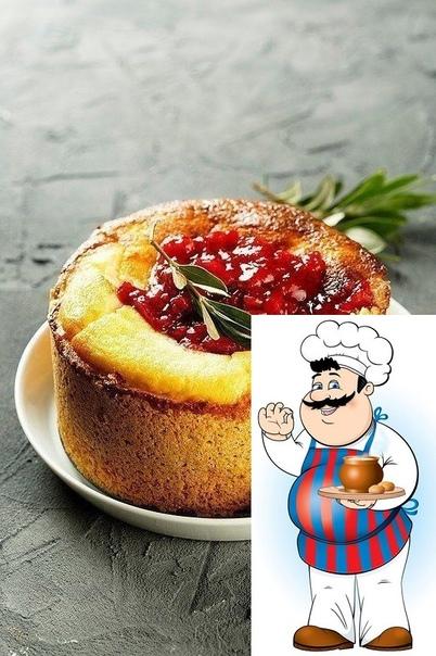 Творожный пирог с клубничным конфитюром