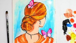 Acrylic Painting for beginners | One Stroke Technique | Woman with Butterflies | Real time
