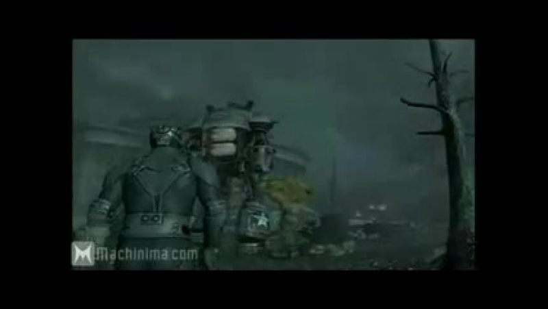 Fallout 3.Супермутант Бегемот против робота Либерти Прайма