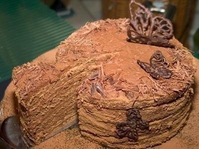 Торт «Трюфель» с лесными орехами Ингредиенты:мука пшеничная - 6 столовых ложексахарная пудра - 6 столовых ложекяичный желток - шесть штук.какао-порошок - три столовых ложкияичный белок - пять