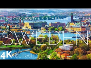 Sweden Beautiful Nature - Stockholm, Ristafallet Waterfall with Relaxing Music - 4k Ultra HD Quality