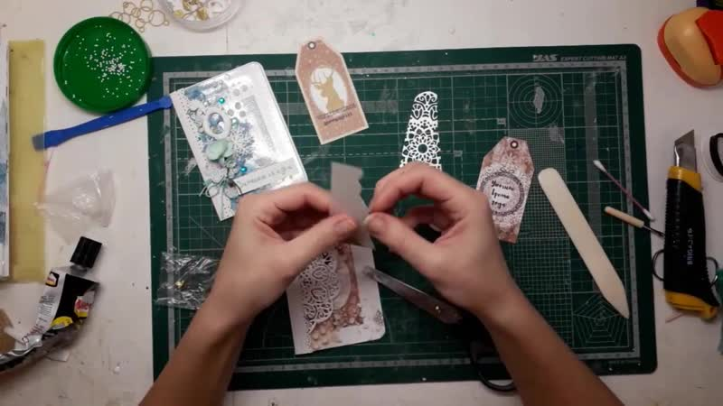 Скрапбукинг Мастер класс Новогодняя открытка на пластике