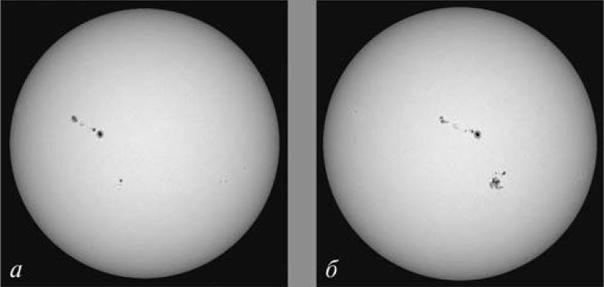 Солнце 2 сентября (а) и 4 сентября (б) 2017 года