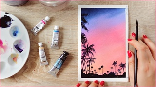 How to Paint a Watercolor Cotton Candy Sunset Sky with Palm Trees - Paint Along With Me!