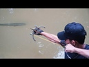 How To Make Powerful Slingshot From Motorcycle Chain | Amazing Man Shooting Huge Fish With Slingshot