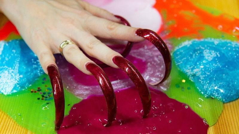 ASMR slime mixing no talking ASMR long nails Vera