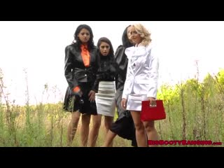 Lesbian outdoor foursome with horny busty babes-480p