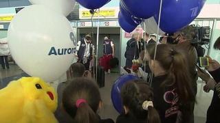 Сборная России после триумфа в Японии на командном ЧМ по фигурному катанию возвращается домой.
