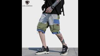 Мужские шаровары карго aolamegs, цветные спортивные шорты в стиле хип хоп, модные мешковатые уличные брюки на шнурке, для лета