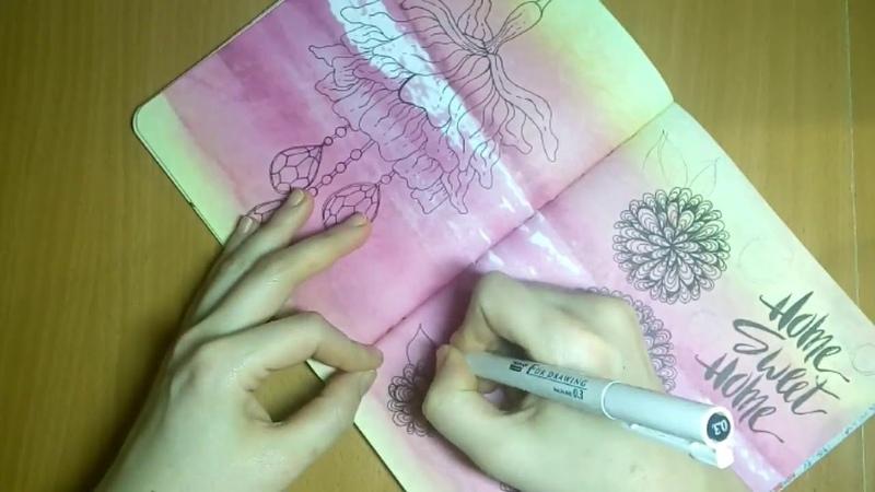 Цветы в стиле дзен-графика