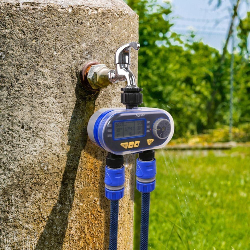 Электронный автоматический таймер подачи воды на две линии с возможностью подключения датчика дождя