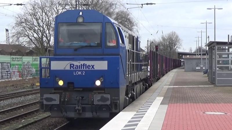 Railflex lok 2 komt met rongenwagens door Essen-Altenessen