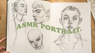 ASMR drawing faces in my sketchbook 🌿 for relaxation and sleep🍃