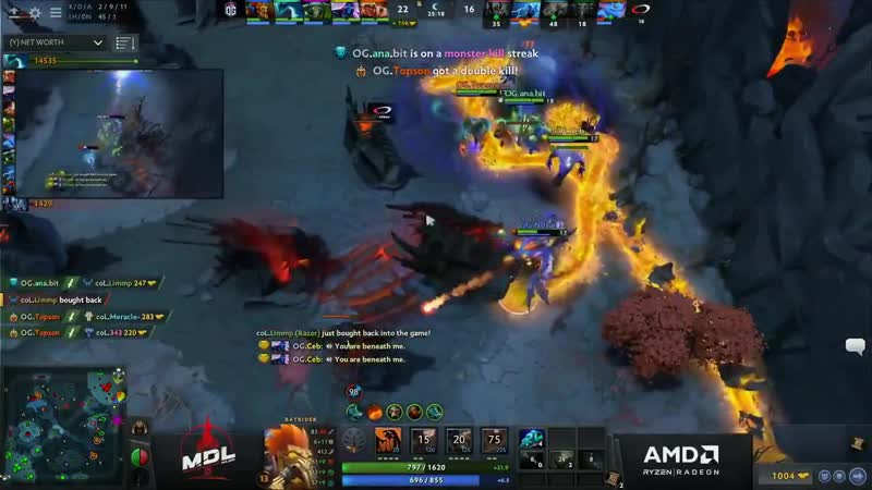 French casters Youyou and Whyll going ham when their compatriot 7ckngMad is giving the victory Black Hole to OG