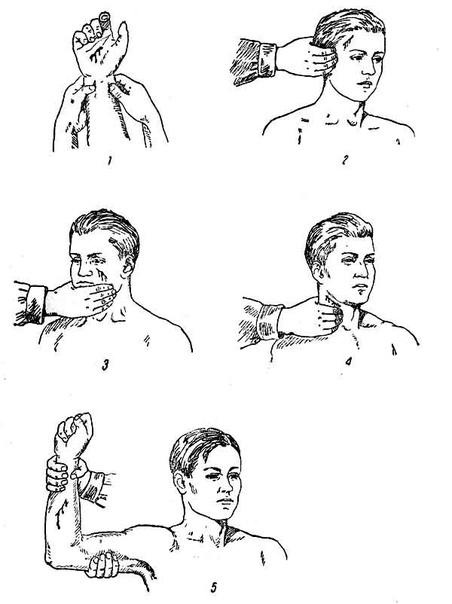 Пальцевое прижатие артерии в случаях ранений головы, изображение №1