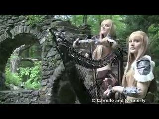 Американские сестры-близнецы игрют на арфах!!!  Skyrim Morrowind Medley (Electric Harp Duet) Camille and Kennerly, Harp