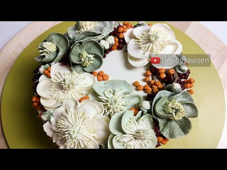 Hellebore and Winterberry Holly winter buttercream flower wreath cake - Happy New Year!