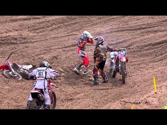 Southwick 250 Moto 1 Mike McDade Pulls Wil Hahn's Bike Off Him
