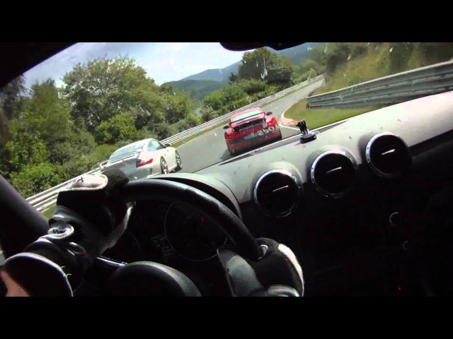 Audi TT RS overtaking the Porsche Race Taxi on Nordschleife at 12 07 2011