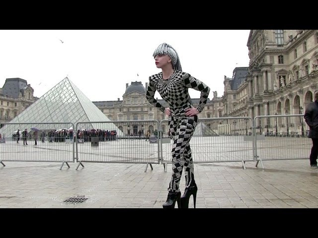 EXCLUSIVE: ONE MORE CRAZY OUTFIT Lady GAGA visiting the Louvre in Paris Part 1