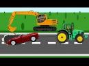 Мультики про машинки - Экскаватор и трактор. Развивающий мультфильм для детей
