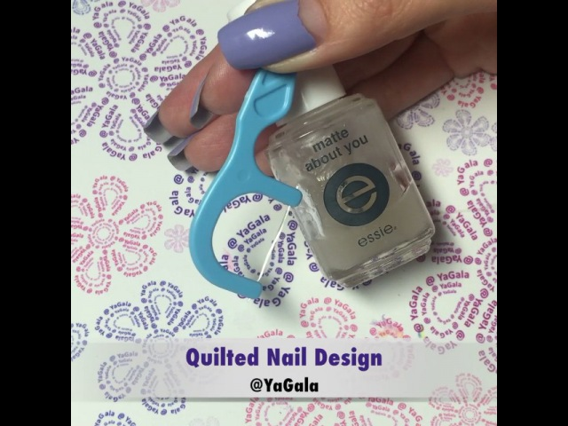 """Galina💅🏻 on Instagram 🎥How to quilted nail design💅 💜Azature nail polish Cyprus Diamond @azature 💙Nail guide from local store Tokyu Hands 💜Essie matte top…"""""""