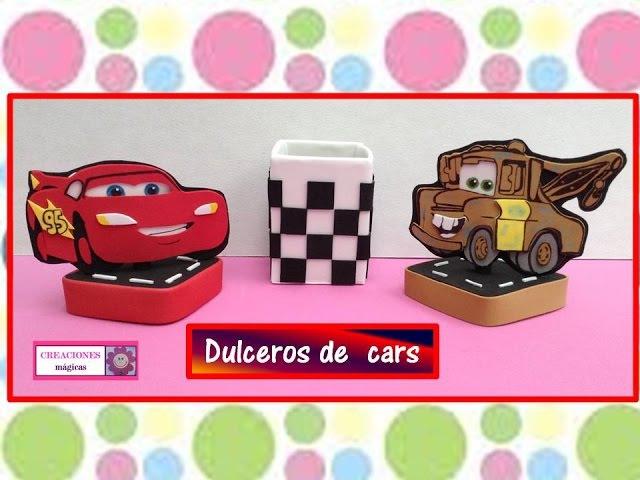 ♥♥Dulceros de cars♥♥ Rayo Mcqueen y Mate♥♥ Reciclando envase de leche♥♥