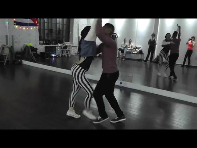 Salsa Class 19 01 16 at D'AKOKAN Dance School Yoandy Villaurrutia Natasha Sirenko
