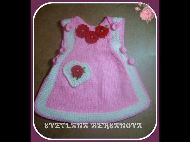Вязаный сарафан для девочки Часть 2 Knitted dress for girl