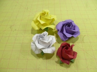 Phutran rose bud origami 16 by 16 grid instructions
