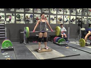 Alyssa Sulay (63kg) 3RM Snatch, Snatch Deadlift on Riser, Back Squats