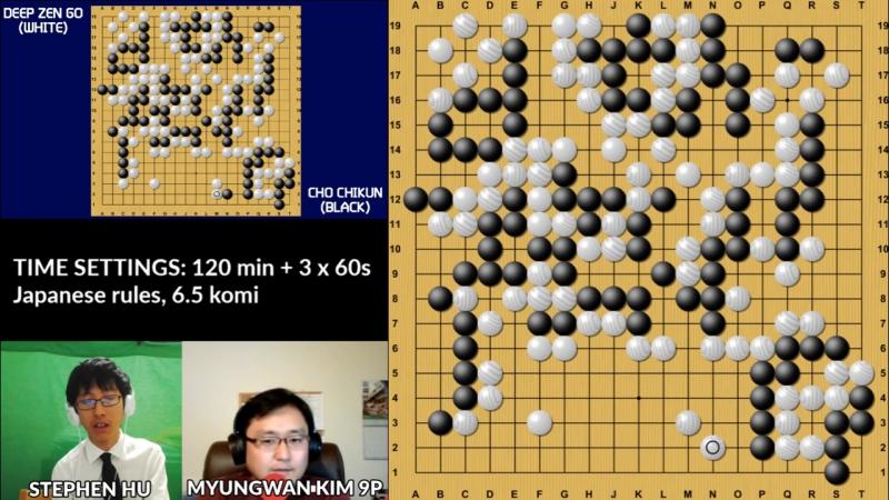 Cho Chikun (b) 9p vs DEEP ZEN GO (w), game 1, commentary by Myungwan Kim 9p!
