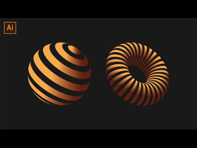 Striped 3D Shapes Tutorial Adobe Illustrator