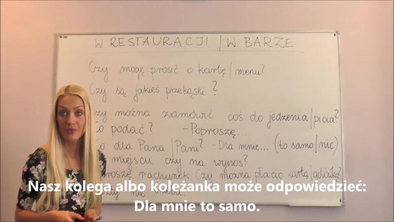 Polish for foreigners w restauracji albo w barze