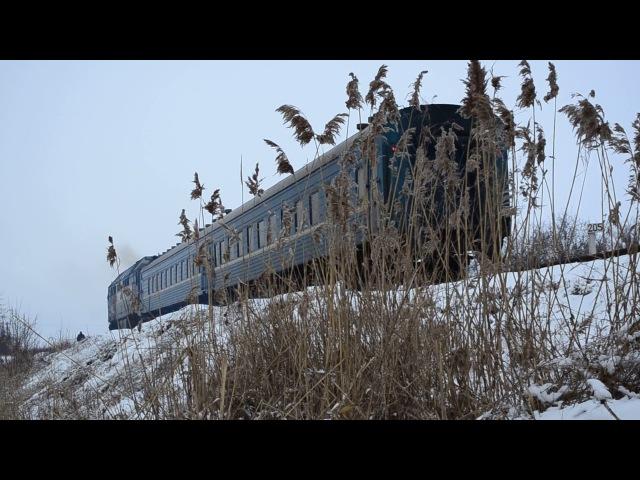 ТЭП70 0062 с поездом №608 сообщением Бердянск-пологи-Запорожье-1 и приветливая лок.Бригада