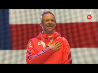 Медальная церемония награждения мужской индивидуальной гонки - Лоуэлл Бэйли - чемпион мира - Хохфильцен 2017