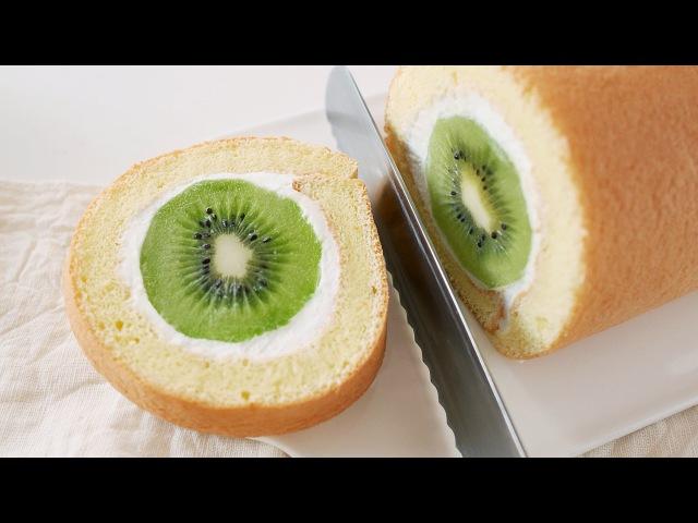 단면이 예술 통통 키위 요거트 롤케이크 만들기 달미인 Kiwi Fruit Cake Roll Dalmiin
