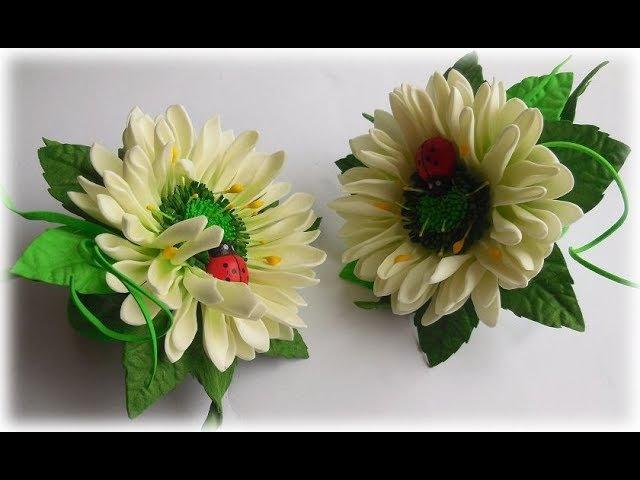 МК Простой способ создания красивых резиночек для девочки с цветами из фоамирана