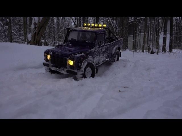 Stock defender 90 on 2.2 vanquish wheels feat defender 110 HCPU snow adventures