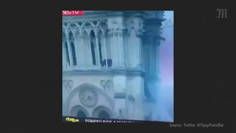 Notre Dame de Paris deux images intrigantes pendant l'incendie