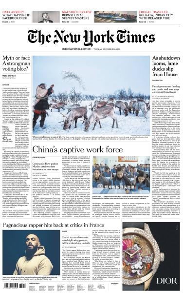 Book cover International New York Times - 18 December 2018