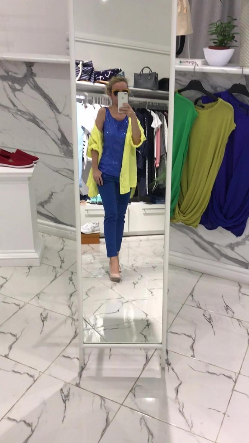рубашка лён жёлтая и майка синяя пайетки